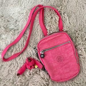 Kipling pink crossbody zippered side bag